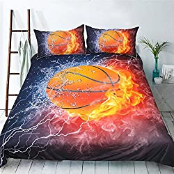 HomeBlove Basketball Print Duvet Cover Sets Twin/Full Size for Teen Kids, Polyester 3-Piece 3D Bedding, 1 Duvet Cover, 2 Pillowcases (Twin)