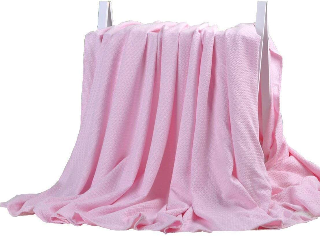 DANGTOP Cooling Blankets, Cooling Summer Blanket for Hot Sleepers, Ultra-Cool Cold Lightweight Light Thin Bamboo Blanket for Summer Night Sweats (79X91 inches,Large Pink)