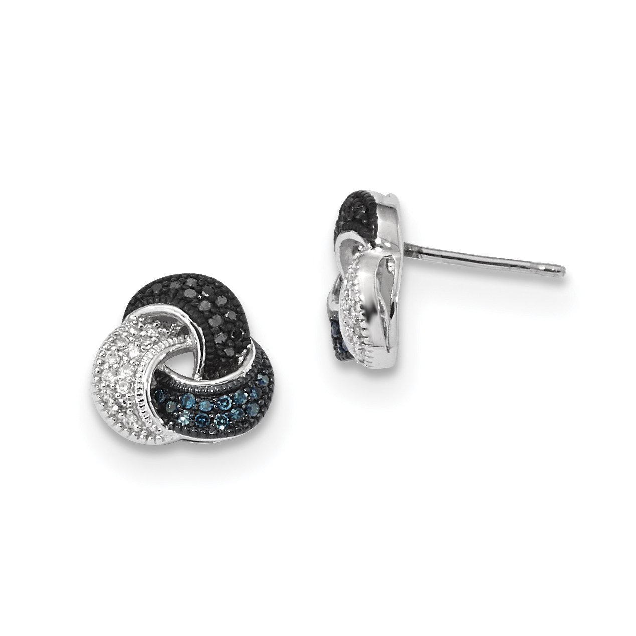 ICE CARATS 925 Sterling Silver Blue/black/white Diamond Post Stud Ball Button Earrings