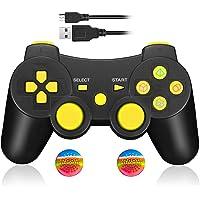 Controller Wireless Bluetooth Joystick per PS3 Giochi, Doppia Vibrazione Sixaxis Joypad Gamepad per Sony PS3 PlayStation 3 - Giallo