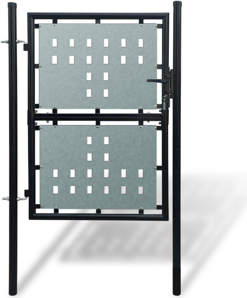 Schloss 250cm//225cm//200cm//175cm Schwarz Anself Gartent/ür Gartentor Zaunt/ür Einzeltor aus Stahl Inkl