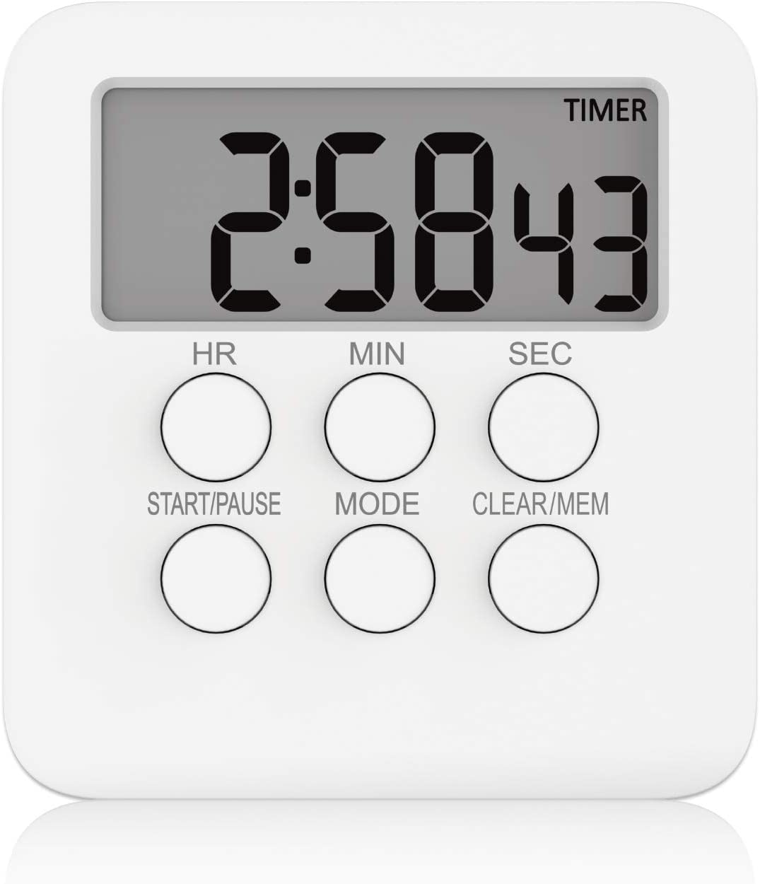 GHEART Kitchen Timer Magnetic Countdown LED Digital Timer, Cooking Timer Magnetic 3 in 1 Clock & Alarm, 24-Hour, Loud Alarm, Large LCD Display, Retractable Stand, Hanging & Magnetic Backing (White)