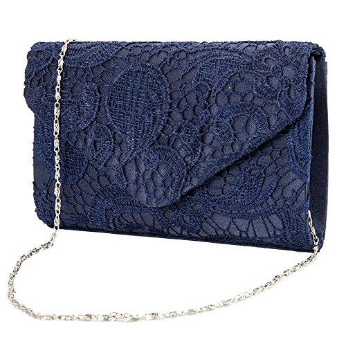 Women Lace Envelope Clutch Bag Ladies Evening Bag Bridal Wedding Bag Women Handbag with Chain for Party Date Navy Blue