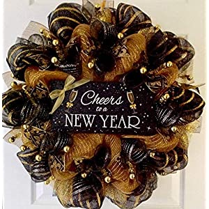 Cheers To A New Year Handmade Deco Mesh New Years Wreath 16