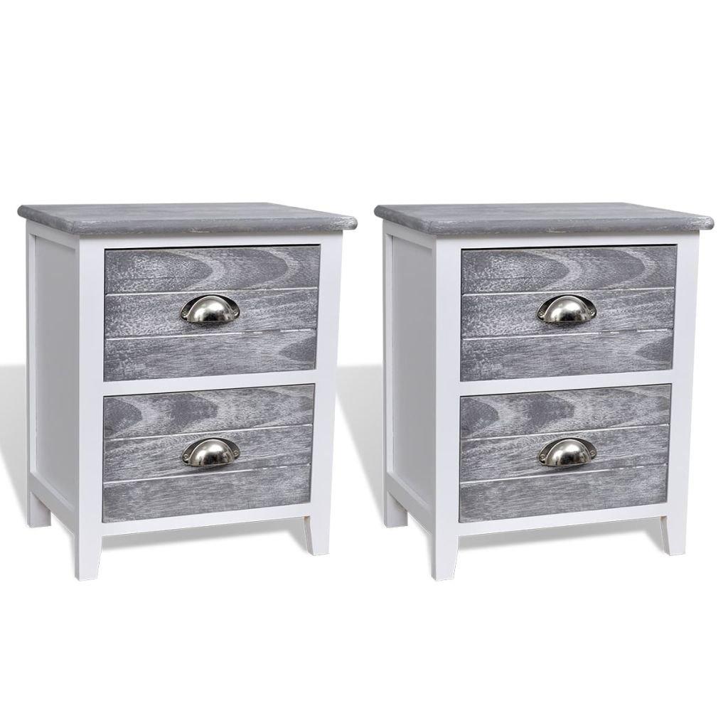 vidaXL 2 tables de chevet - meubles pour téléphone à tiroirs gris blanc