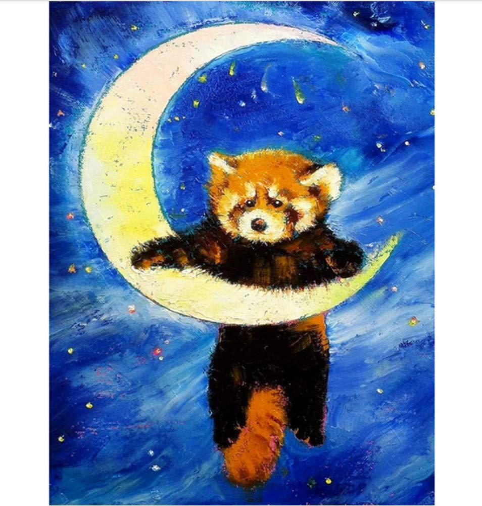 WFYY DIY Malen Nach Zahlen Herr Xiong Trauriger Mond Leinwand Wandkunst Foto Puzzle Spiel Spielzeug Geschenke Für Kinder 16X20 Inch Holzrahmen B07PNQL9BY | Rich-pünktliche Lieferung