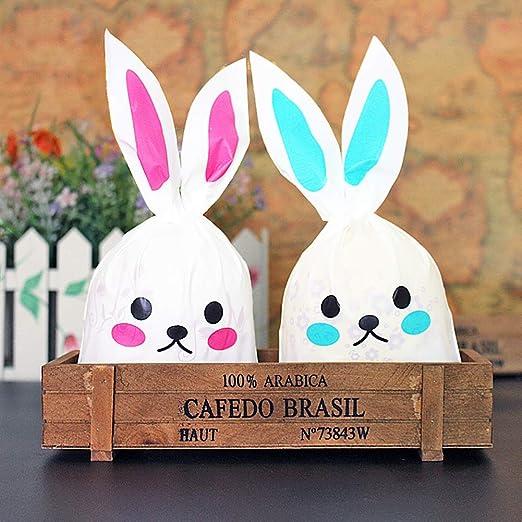 TOPFAY Easter Bunny Borse di Pasqua Caramelle Bag Sacchi e Sacchetti di Legatura Partito Rabbit Ears 50pcs Regalo