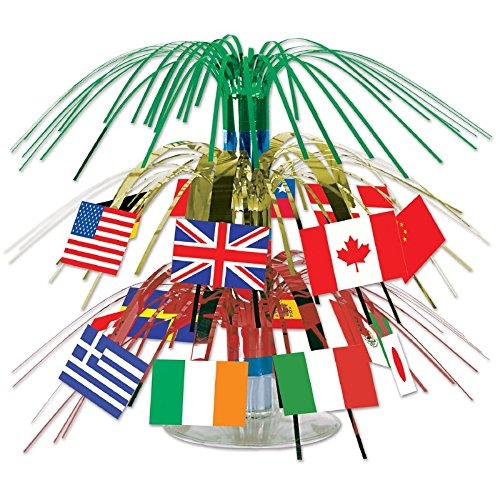 Pack of 12 Tinsel International Flag Mini Cascading Party Table Centerpieces 7.5''
