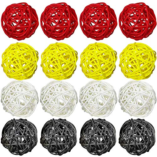 ZZPRO 16 Pcs 2 Inch Wicker Rattan Balls Decorative Themed Party Decoration Tree Decoration Wedding Table Decoration Baby Shower Orbs Vase Fillers for Craft Project (Red Yellow Gray White) (Vase Tall Rattan)