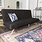 DHP Emily Futon Couch Bed, Modern Sofa Design Includes Sturdy Chrome Legs