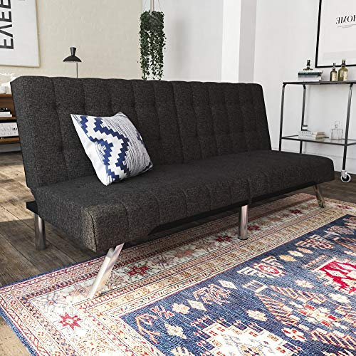 Full Size Reclining Sofa - DHP Emily Futon Couch Bed, Modern Sofa Design Includes Sturdy Chrome Legs and Rich Linen Upholstery, Grey