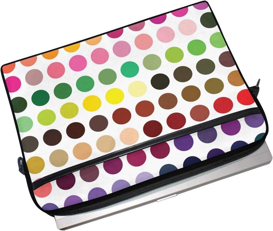 IMOBABY Retro Watercolor Colorful Polka Dot Laptop Bag Canvas Messenger Shoulder Bag Briefcase Fits 15-15.4 Inch