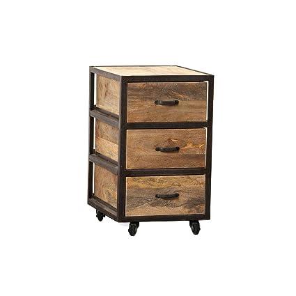 Miliboo - Cajonera de escritorio industrial madera maciza ...