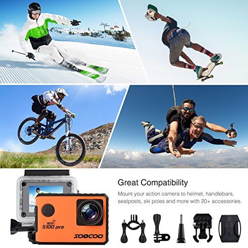 "4K WIFI Action Camera Touchscreen, SOOCOO S100 Pro Sports Camera Ultra HD Waterproof DV Camcorder Voice Control 20MP 170°Wide-Angle 2"" 2.4G Remote Control/2 Batteries/17 Kits Orange/Black-Random color"