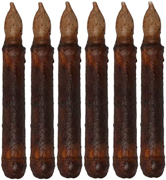 Horeset 6pcs Real Wax Flameless Candle Yellow Flickering LED Taper Candle Black Bottom Taper Candle Light Stick Candle Primitive for Home Dinner Halloween Party Christmas Windows Decor