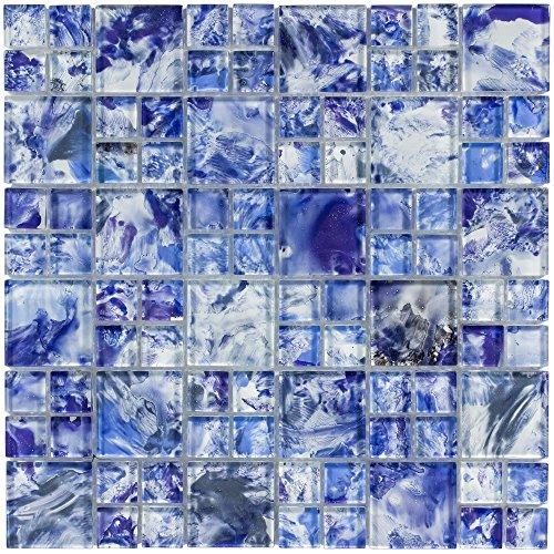 (MTO0113 Modern Modular Blue White Glossy Translucent Glass Mosaic Tile )