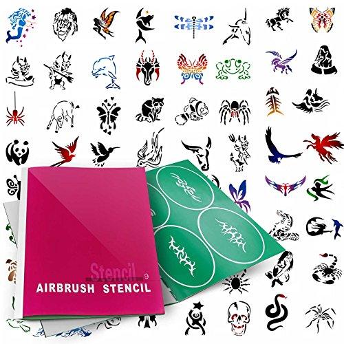 (PointZero Temporary Tattoo Airbrush Stencils 100 Designs - Book 9 )