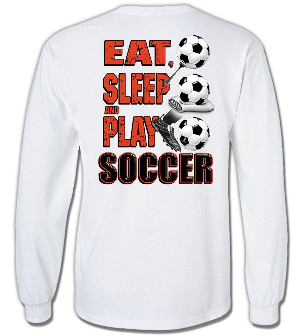 長袖サッカーTシャツ: Eat Sleep Play Soccer B00Q3BSTV2ホワイト Youth Medium
