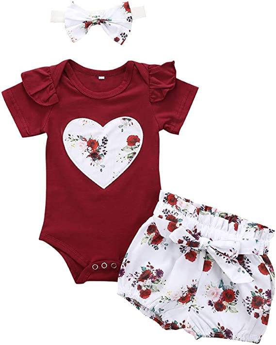 TiTCool 3PCS Clothes Set Newborn Toddler Baby Girl Ruffles Romper Bodysuit Jumpsuit Floral Pants with Headband Outfit Clothes