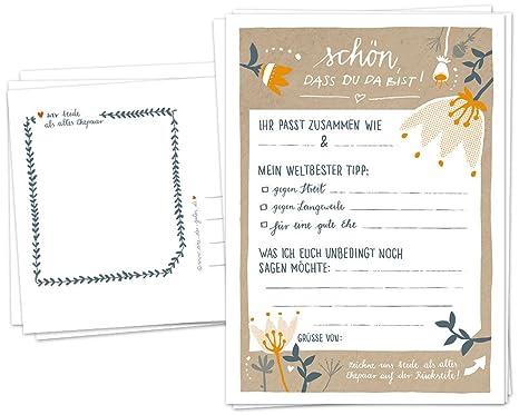 Hochzeitsspiel für Gäste | 52 Postkarten, Schön, dass du da bist | Spiel mit witzigen Fragen & zum Zeichnen | Recyclingpapier