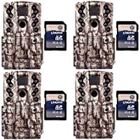 Moultrie Low Glow 12 MP AC20 Long Range IR Trail Game Camera (4) + 4 SD Cards