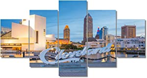 "Cleveland Ohio Cityscape Cleveland Sign Poster Canvas Wall Art Decor for Living Room, 5 Panel Skyscrapers and City Skyline Posters & Pictures for Home Decoration Ready to Hang(60""Wx32""H)"
