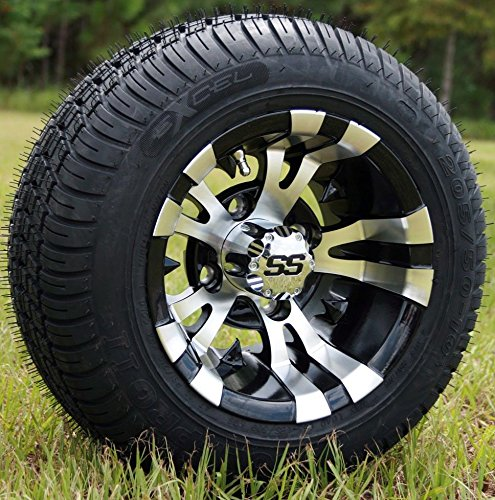 10' VAMPIRE Machined/Black GOLF CART WHEELS AND 205/50-10 LOW PROFILE GOLF CART TIRES COMBO - SET OF 4