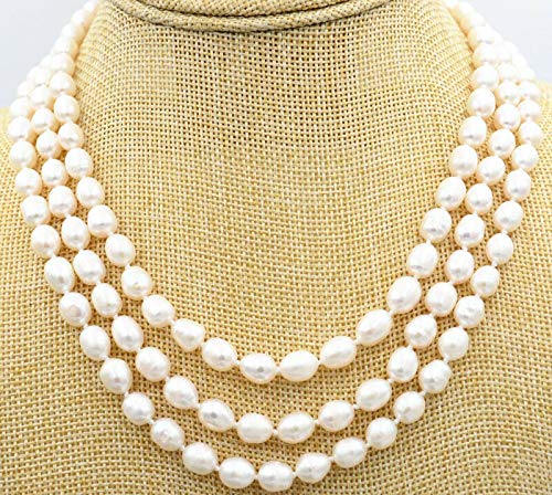 FidgetFidget 3row 8-9mm akoya Genuine Natural White Rice FW Pearls Necklace - 8mm Pearl Fw Necklace