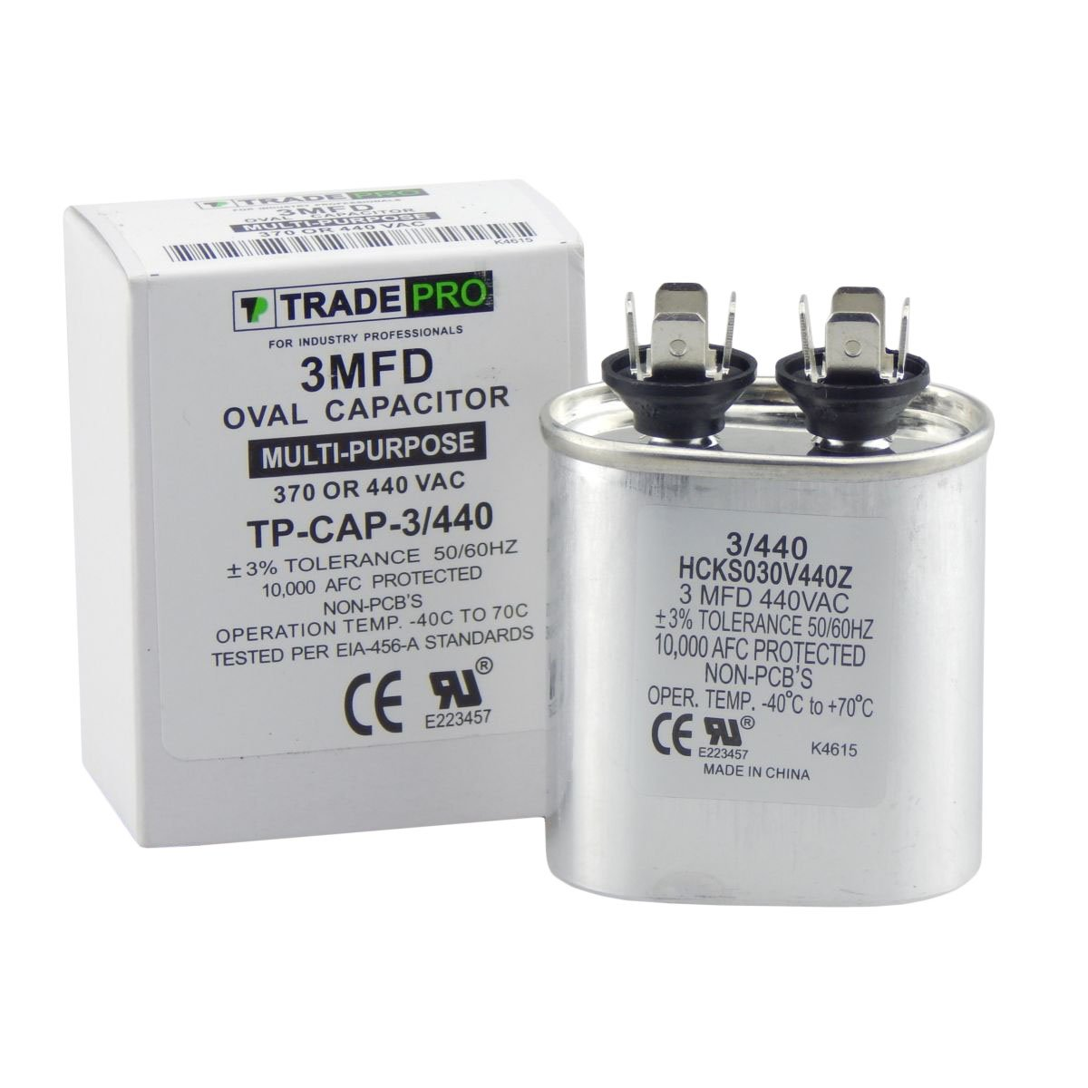 3 mfd Capacitor, Industrial Grade Replacement for Central Air-Conditioners, Heat Pumps, Condenser Fan Motors, and Compressors. Oval Multi-Purpose 370/440 Volt - by Trade Pro