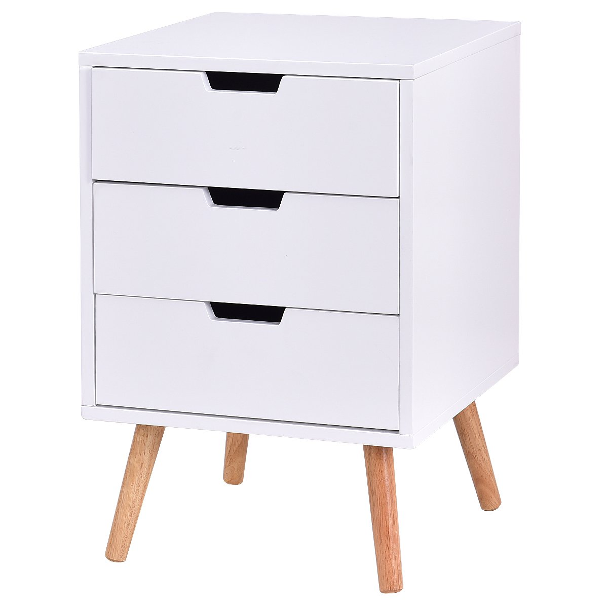 Giantex White Side End Table Nightstand With Drawers Mid