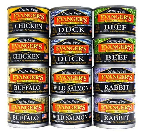 - Evangers Grain Free, All Natural Dog/Cat Food Variety Pack - 6 Flavors (Chicken, Beef, Buffalo, Rabbit, Duck, and Wild Salmon) 6-Ounce Each - 2 of Each Flavor (12 Total Cans)