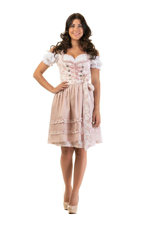 Dirndl Trachtenkleid Damen ELSA in Rosa 3.tlg Set Bluse und SCHÜRZE