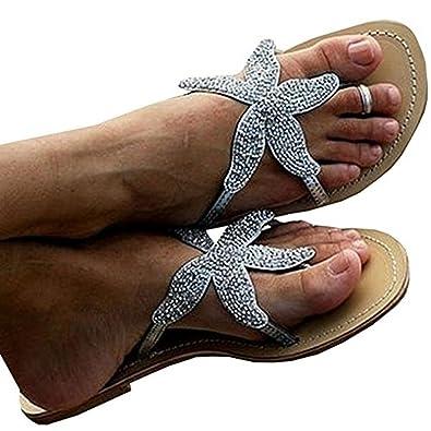 ea160837f47b Inorin Women Flip Flops Flat Silver Diamond Rhinestone Starfish ...