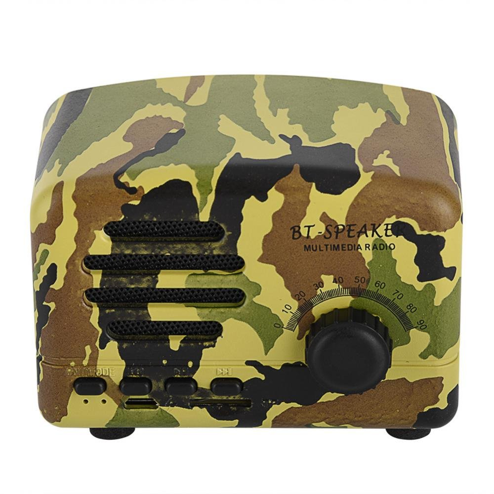 fosa Wireless Bluetooth Speaker, Retro Portable Wooden Desktop Speaker Bass Stereo FM Radio Support USB TF Card for Travel, Home, Beach, Bathroom, Outdoors(Military green)