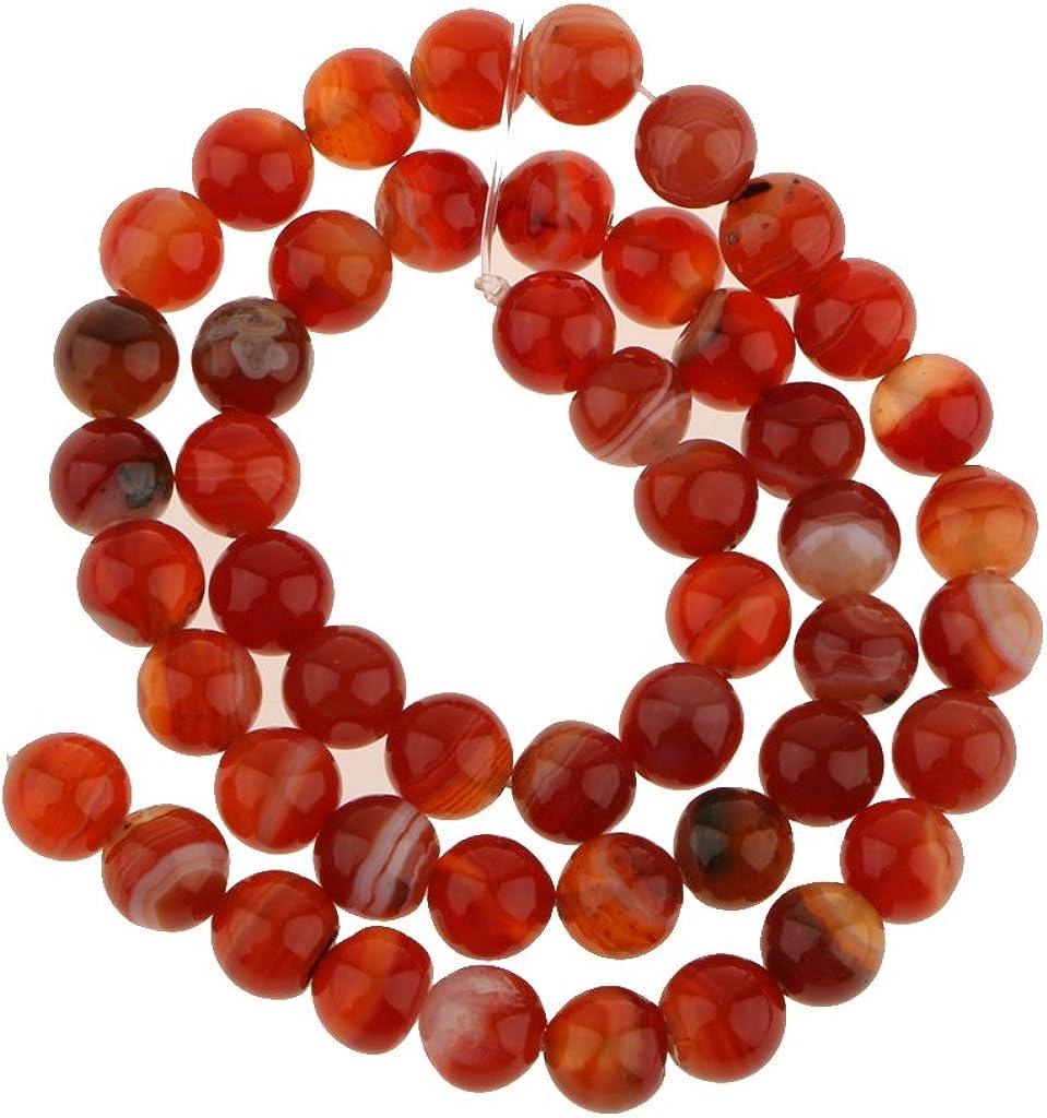 Una Cadena De Fuego Ronda ágata De Piedras Preciosas Perlas Sueltas 8 Mm / 14 Pulgadas