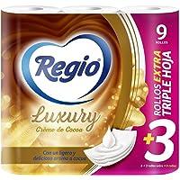 Regio Papel Higiénico Creme de Cocoa, 6+3 Rollos, Ligero Aroma a Cocoa, Hojas Triples, 9 Count