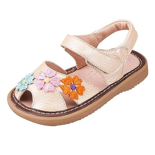 Tortor 1Bacha Kid Girl Leather Flower Closed Toe Sandals White 4.5 M US Toddler