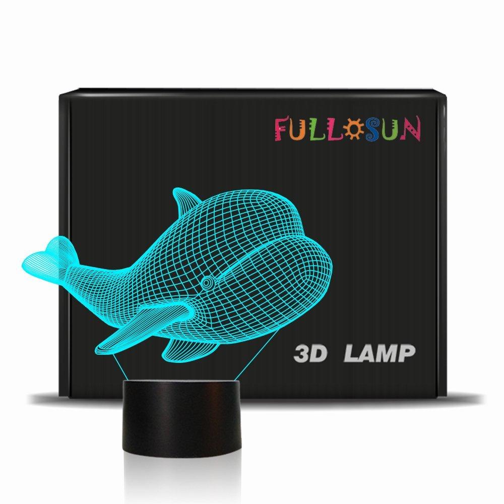 fullosun Light Night Lights forキッズ LED、ベビーNight Light with 3d Baby WhaleイメージIllusion、目Caring LED Nurseryランプ、安全ABS +アクリル- 7色変更可能 Baby Whale B07G3XV3ZX, 美浜町:a0c0ea99 --- ijpba.info