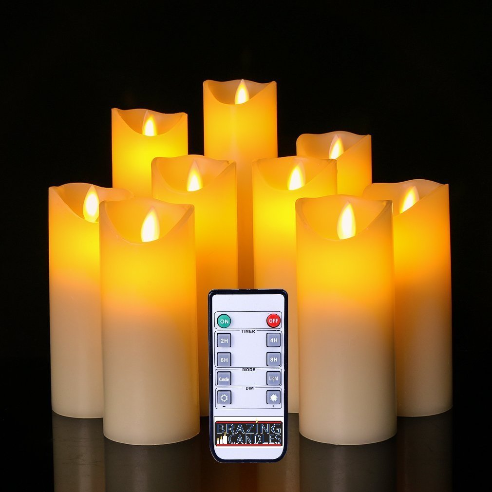 BRAZING CANDLES 9 pc LED Candle Set, Ivory, 2 inch diam, Ivory w/10 key remote control