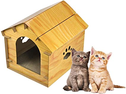 Simulated Wooden Cat House With Front Door Diy Cat Bed Cat Nest Pet Bed For Indoor And Outdoor Pet Shelter 12 18 12 06 12 In Amazon Co Uk Pet Supplies