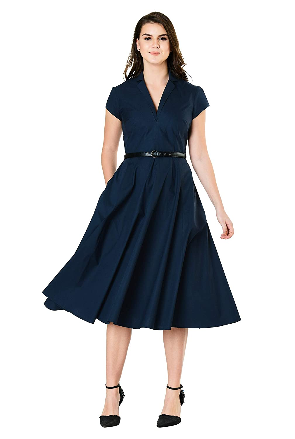 Vintage Tea Dresses, Floral Tea Dresses, Tea Length Dresses eShakti Womens Notch Collar Cotton poplin Belted Dress $69.95 AT vintagedancer.com