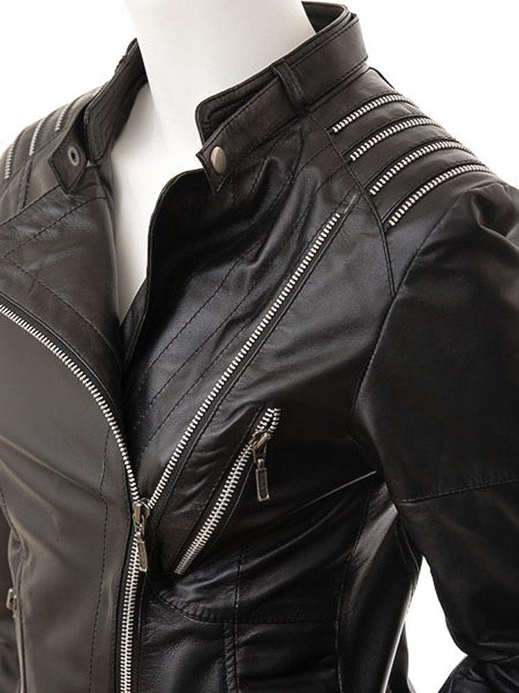 Hellojeehouse Womens Leather Jacket Black Slim fit Biker Genuine Lambskin Jacket 7
