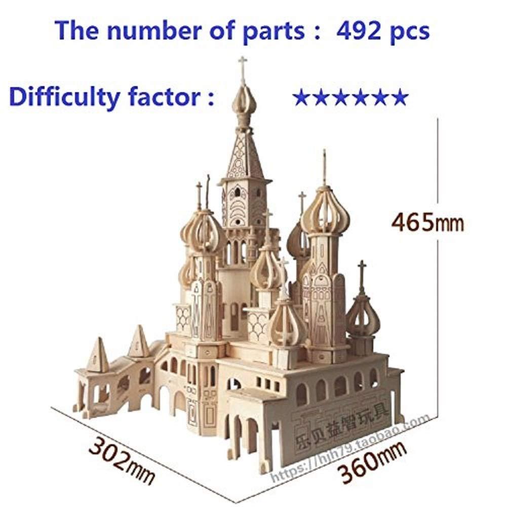 Zhiwen 3D Simulation Model Wooden Puzzle Kit for Children Or Adults Artistic Wooden Toys for Children-Buildings Series Castle