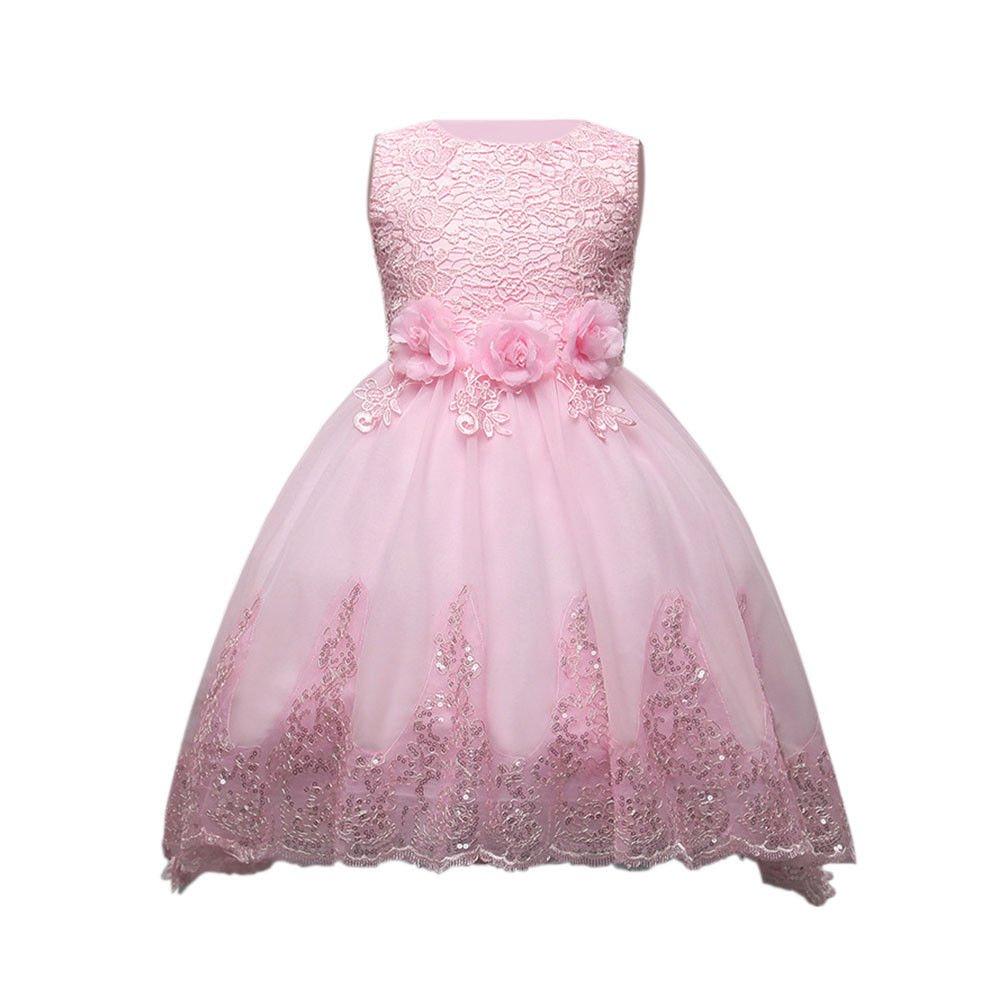 Fuyingda Kids Diamante Vestido de dama de honor Niñas Princesa ...