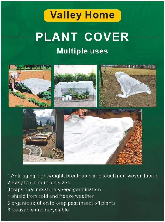 V&H Plant Covers Freeze Protection Floating Row Cover Garden Fabric Plant Cover(8X24FT) for Winter Frost Protection Pest Protection