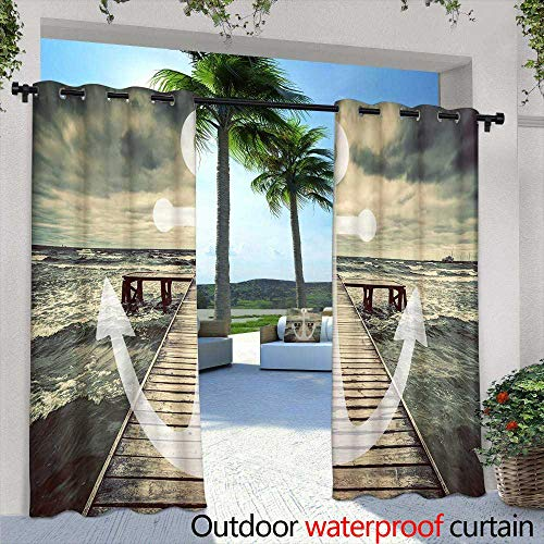 (berrly Outdoor- Free Standing Outdoor Privacy Curtain,Old Worn Trumpet Stands Alone Against a Grungy Wall Outside a Jazz Club,W96 x L84 for Patio Light Block Heat Out Water Proof)