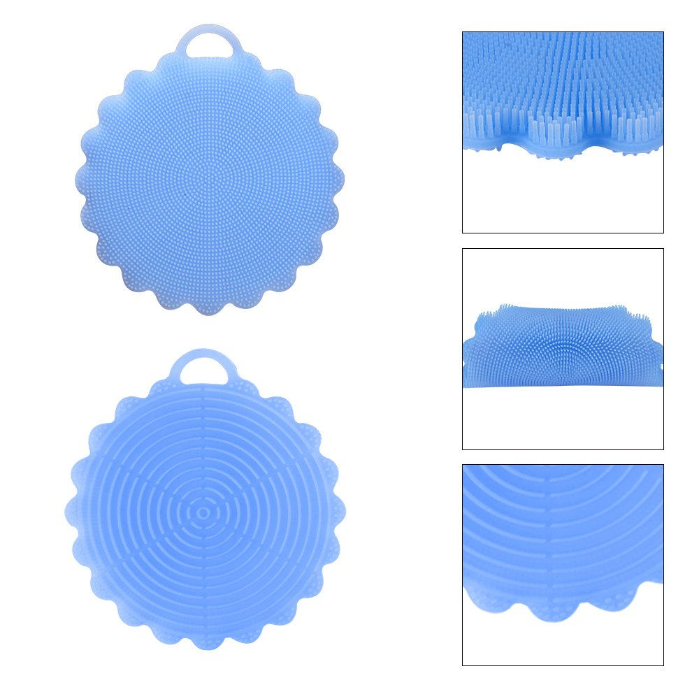 SHiZAK Food-Grade Antibacterial Multipurpose Non Stick Silicone Dish Scrubber Sponge Brush Dish Towel Scrubber Mat For Kitchen Wash Pot Pan Dish Bowl/ Cleaning Fruit Washer / Vegetable Cleaner /Heat-resistant Mat(Pack of 2, Blue)