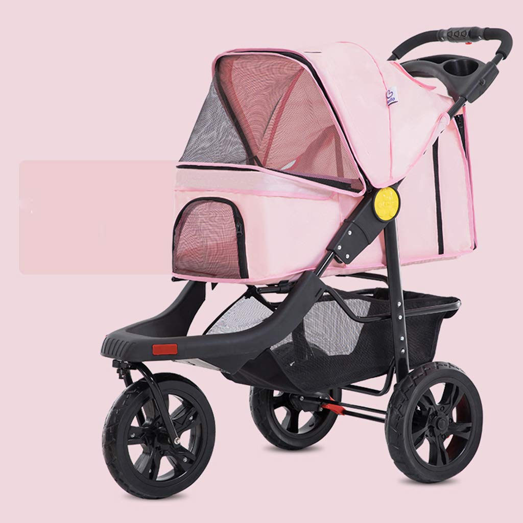 Pink Pet Cart, Large Portable Foldable Help Dog Cat Trolley, Baby cage Cart, Three Rounds Shockproof Pet Travel Outdoor Travel Cart, Bearing Weight 25kg