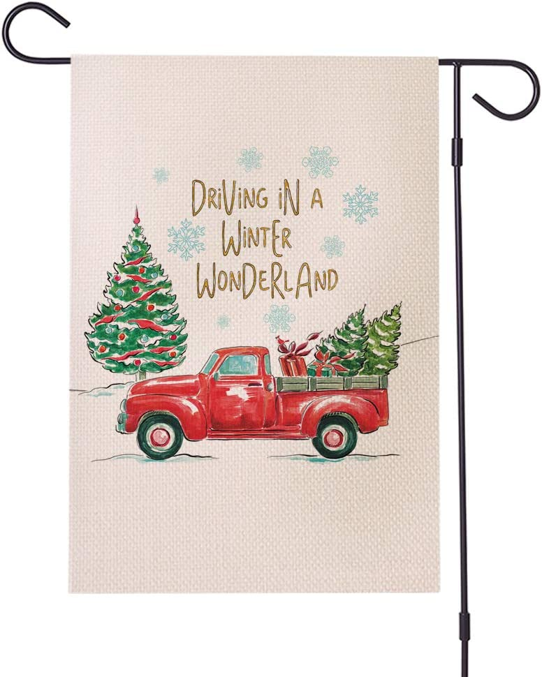 "BVN7 Decorative Garden Flag Seasonal Outdoor Flag 12 x 18 and 28 x 40 Seasonal Garden Flags (12.5"" x 18"", Red Truck Winter Wonderland)"