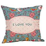 Mome Home Cushions 1PC Lined Linen Cushion Cover, Throw Pillow Cover, Square Decorative Pillow Covers, Indoor/Outdoor Pillows Shells - (18x18, Red Rose❤️) (C)